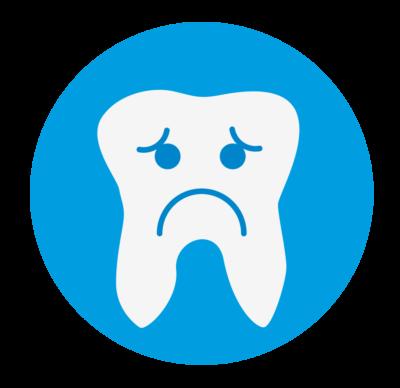 een tand die somber kijkt